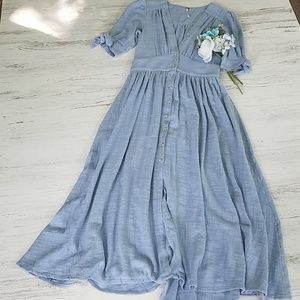 Free People Vintage Style Short Sleeve Dress